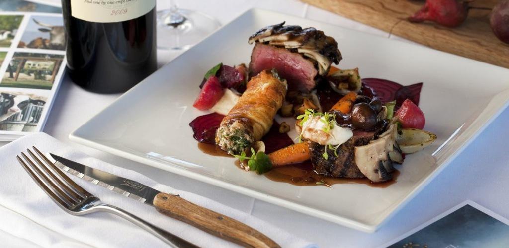 Free-range beef fillet, mushroom, celeriac, kataifi, goat's cheese, vegetable, beets, port