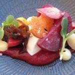 Organic beetroot, Buffalo ridge mozarella, balsamic onion