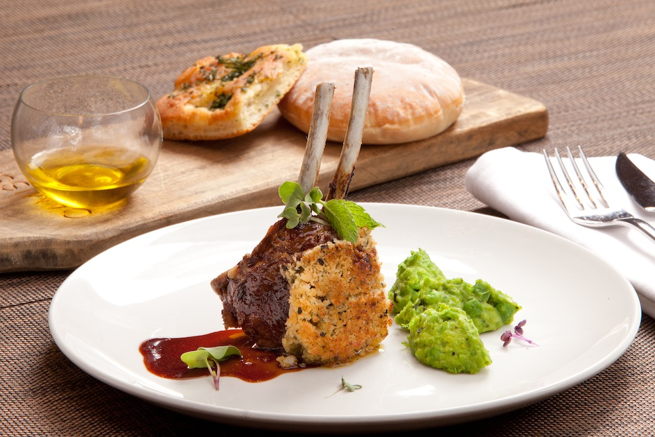 Camissa's Herb & Macadamia Nut Crusted Karoo Lamb Cutlet with Minted Jus