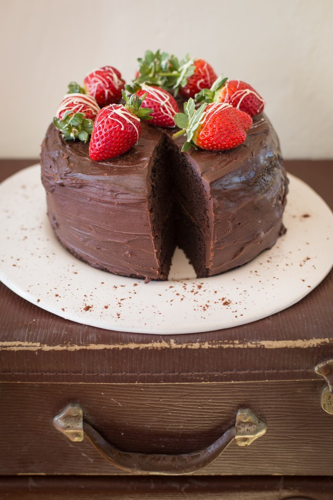 Chocolate Cake with Strawberries at Platform 1 Wednesday is Cake & Tea Day