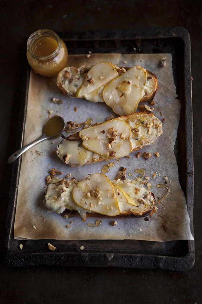 Pear Tartines with blue cheese & walnuts