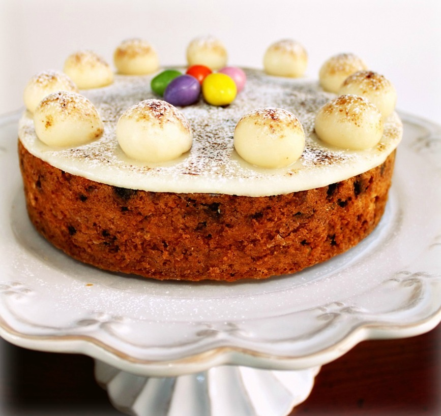 The Simnel Cake with its marzipan eggs