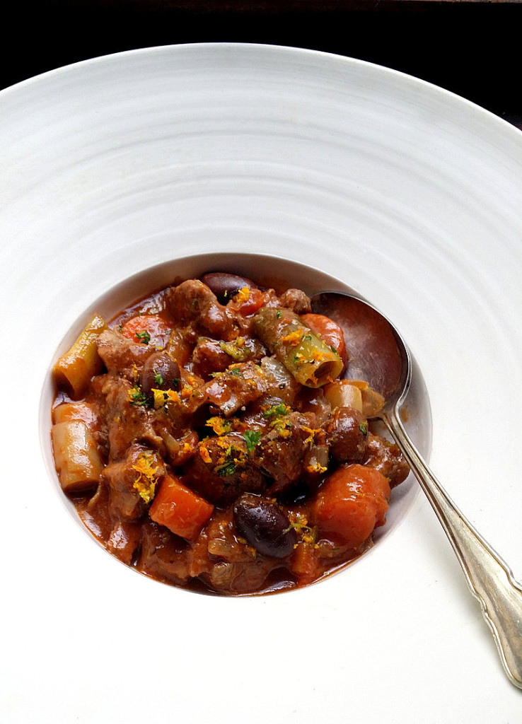 Beef Shin, Tomato & Olive Stew with Naartjie Gremolata. Plate by David Walters, Master Potter of Franschhoek