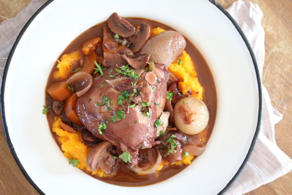 Coq au Vin with creamy butternut mash