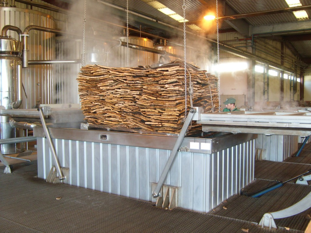 Cork being steam sterilised in the Amorim factory in Alentejo
