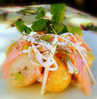Jane-Anne Hobbs's Salad of Warm New Potatoes, Smoked Trout, Celeriac & Watercress