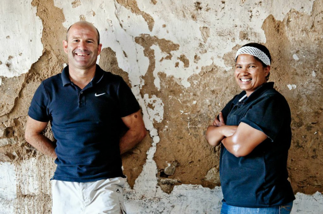 Charl du Plessis, Spice Route Winemaker with assistant winemaker Licia Solomons