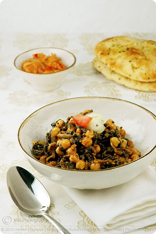 Meeta K Wolff's Chickpeas with Spinach Channa Palak
