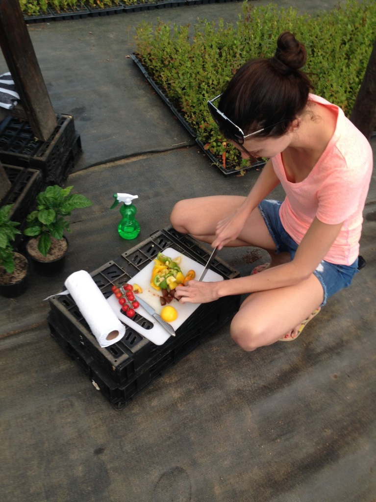 Claire Winstanley cutting Heritage Tomatoes on set