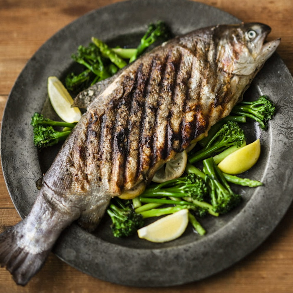 Hayden Quinn's Sustainably farmed trout, grilled with crunchy veg & salsa verde
