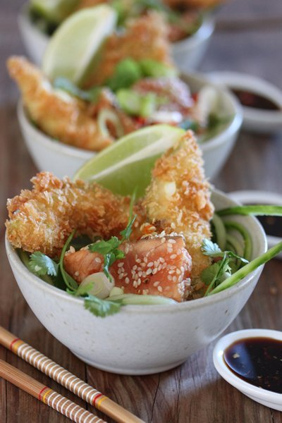 Panko crumbed avocado shards with seared teriyaki salmon on cucumber noodles - Carey Boucher Erasmus