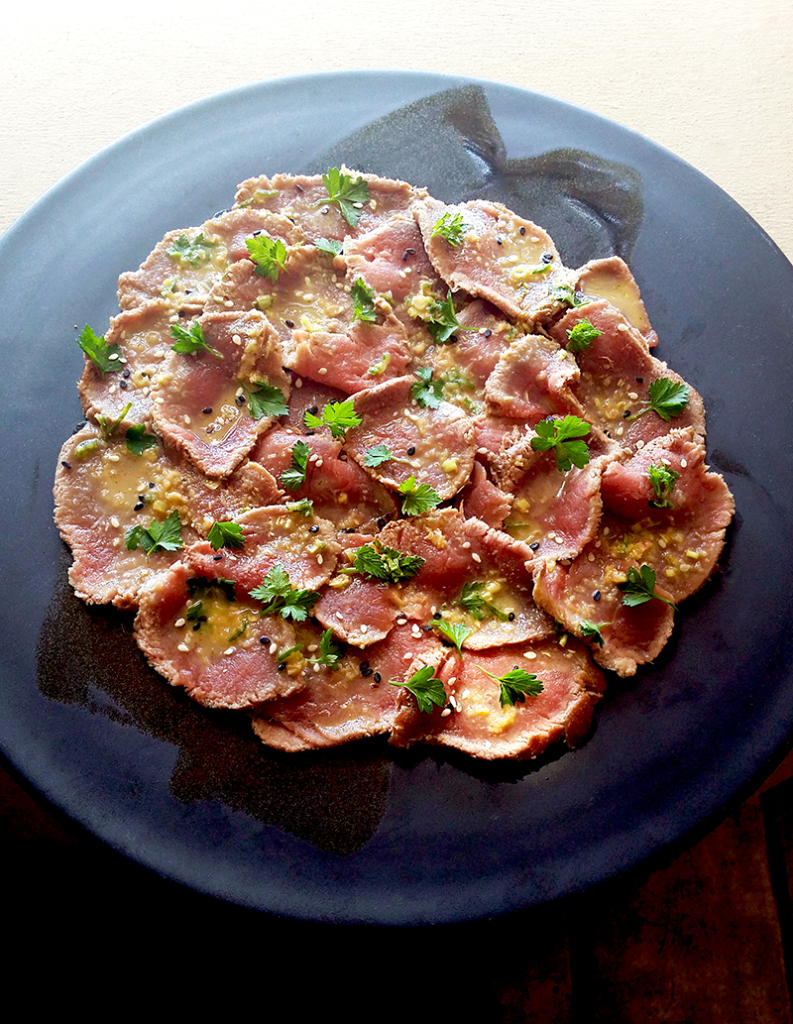 Seared Gemsbok 'Carpaccio' with a Thai-Style Dressing Plate by David Walters, Master Potter of Franschhoek