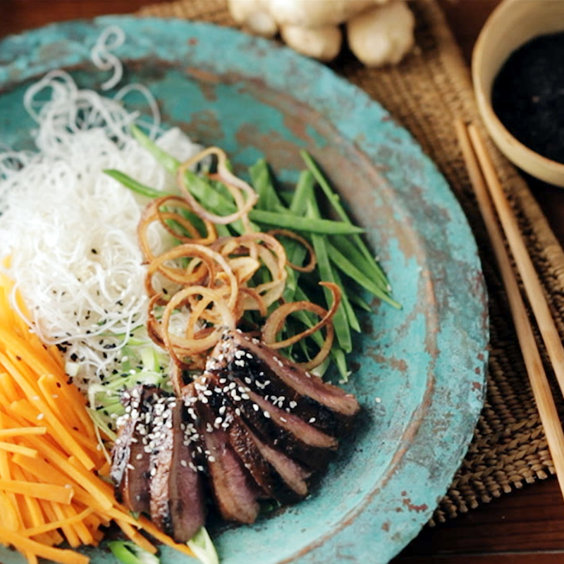Hayden Quinn's Char Sui Marinated Kudu with rice noodles