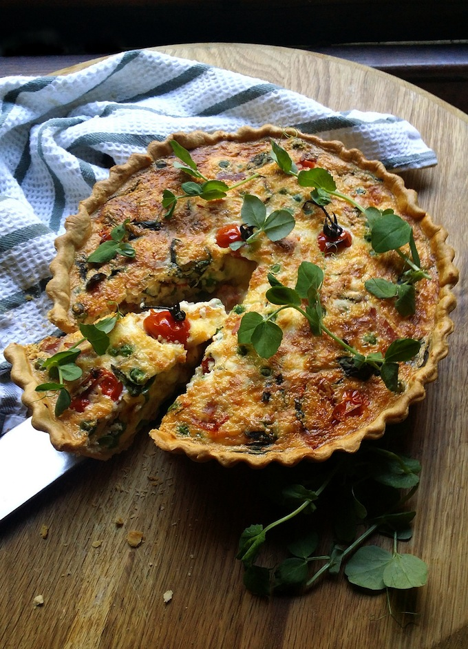 Jane-Anne Hobb's Deep-Dish Quiche with Blistered Tomatoes, Peas, Basil & Mozzarella