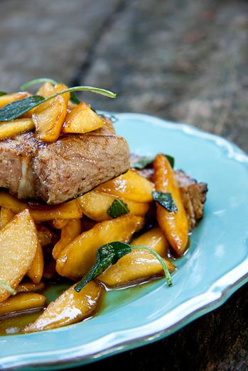 Alida Ryders Pork Steaks with Sautéed Apples & Crispy Sage