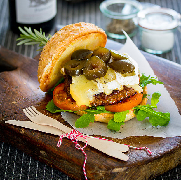 Ilse van der Merwe's Beef burger with brie & figs
