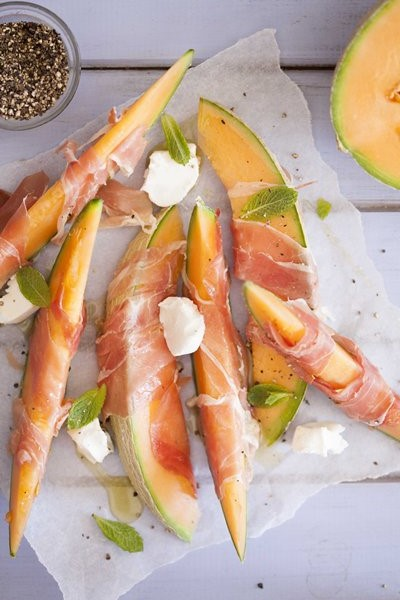 Carey Boucher Erasmus's Sweet Melon, Prosciutto & Goat's Cheese with Fresh Mint