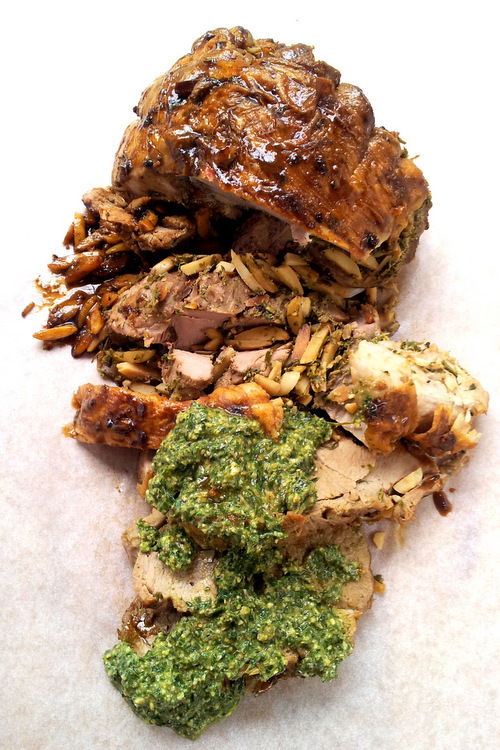 Jane-Anne Hobbs's Stuffed Leg of Lamb with Basil & Walnut Sauce