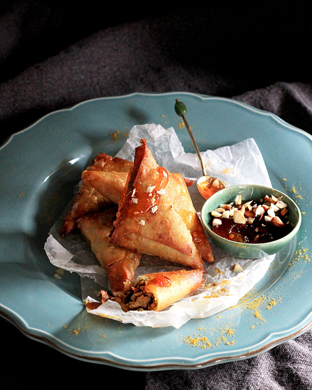 Lizet Hartley's Bobotie Samoosas with Apricot Dipping Sauce