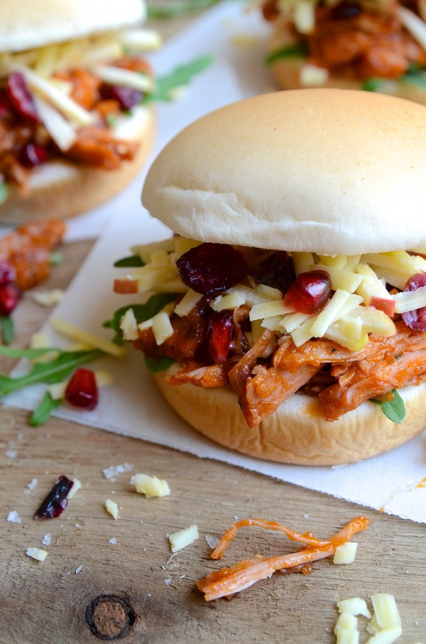 Dianne Bibby's Barbecued pulled-gammon buns with wild rocket, matchstick apple & cranberry slaw