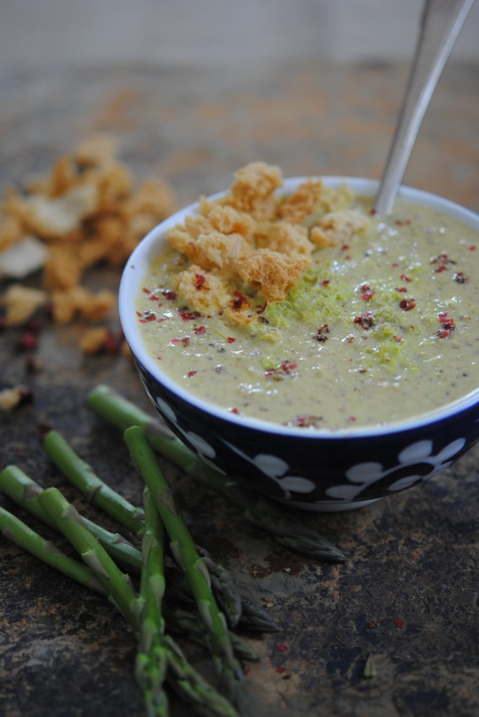 Sophia Lindop's Chilled asparagus, blue cheese & biltong soup
