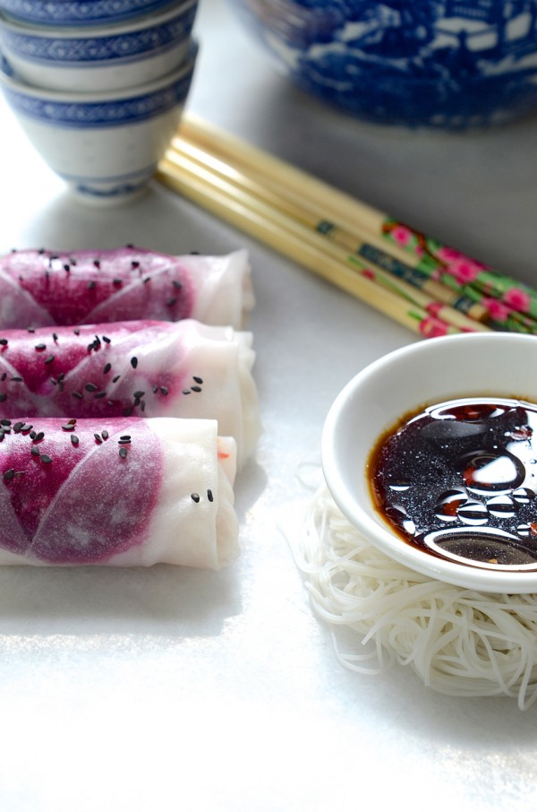 Dianne Bibby's Beetroot, crunchy vegetables & salted peanut-crush rice paper rolls with a citrussy soy & sesame dipping sauce