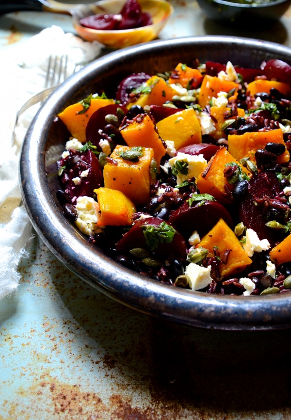 Dianne Bibby's Black rice & black bean salad with balsamic beets, roast butternut, feta & toasted pumpkin seeds