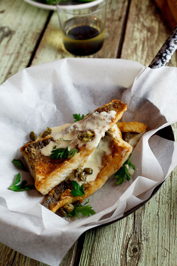 Alida Ryder's Pan-fried fish with lemon-cream sauce & capers
