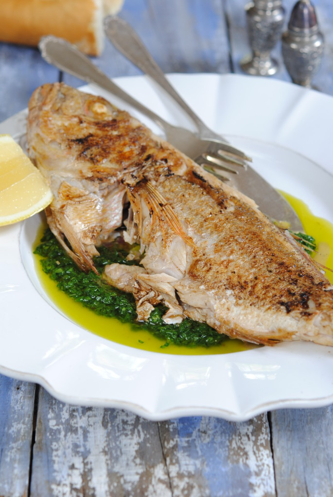 Sophia Lindop's Baby fish with spinach salsa verde