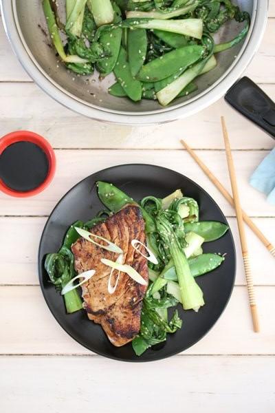 Carey Boucher Erasmus's  Teriyaki Tuna Steaks with Sautéed Greens
