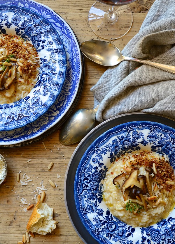 Dianne Bibby's Brown butter risotto with exotic marsala mushrooms & chorizo pangrattato crumbs