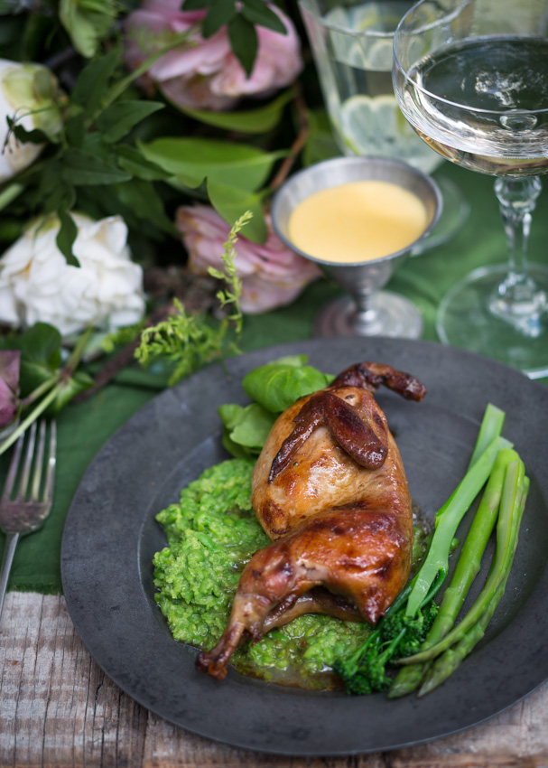 Vickie de Beer's Bay roasted quails with honeyed-butter & spring greens