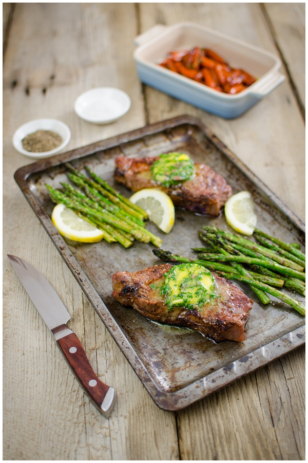 Fritz Brand's Sirloin with Anchovy butter Asparagus & Honeyed Carrots