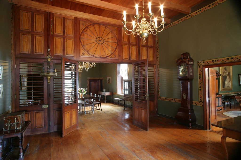 Boschendal Manor House Interior showing the Porte de Visite the broad yellowwod floor beams & the handpainted dados