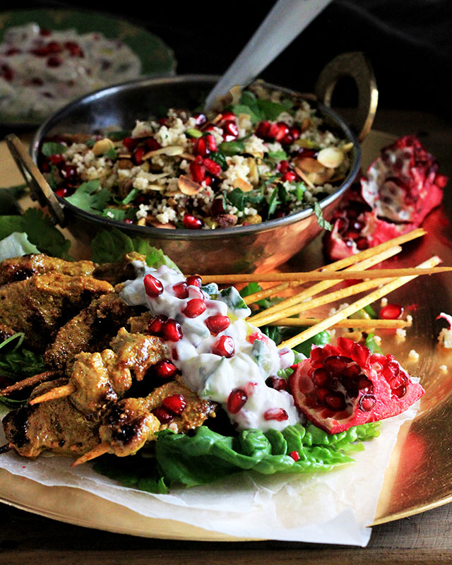 Pomegranate Chicken With Almond Couscous Recipe: Lamb Kebabs With Fruity Couscous & Pomegranate Raita