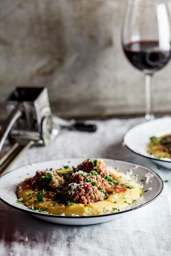 Alida Ryder's Meatballs baked in Tomato sauce on Polenta