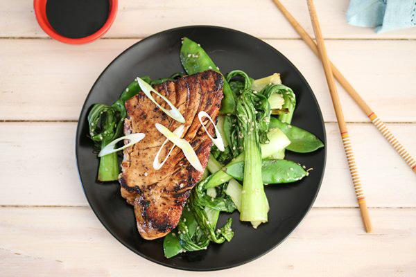Carey Boucher Erasmus's Teriyaki Tuna Steaks & Sautéed Greens
