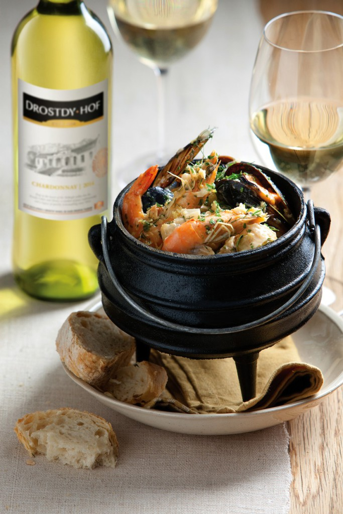 Vickie de Beer's Seafood potjie with Drostdy-Hof Chardonnay photograph Charles Russell