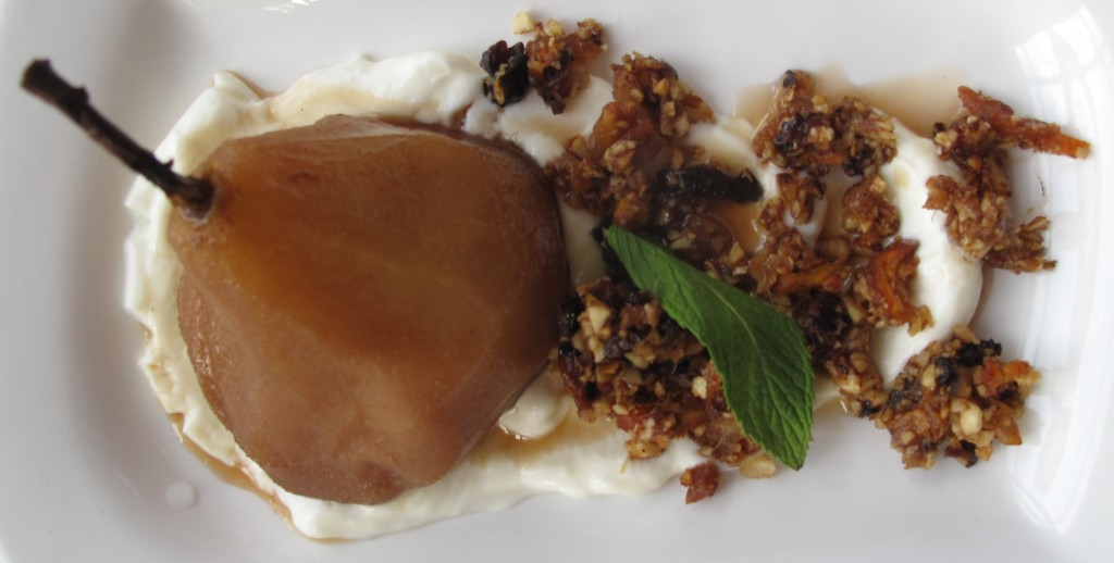 Spiced Poached Pear, dried fruit nut filling & double thick yoghurt