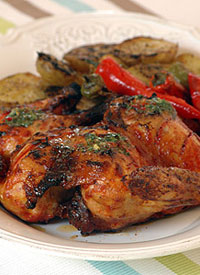 Ina Parman's Peri Peri Chicken under a brick