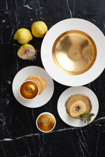 Pieces of Jacques's bespoke gold porcelain