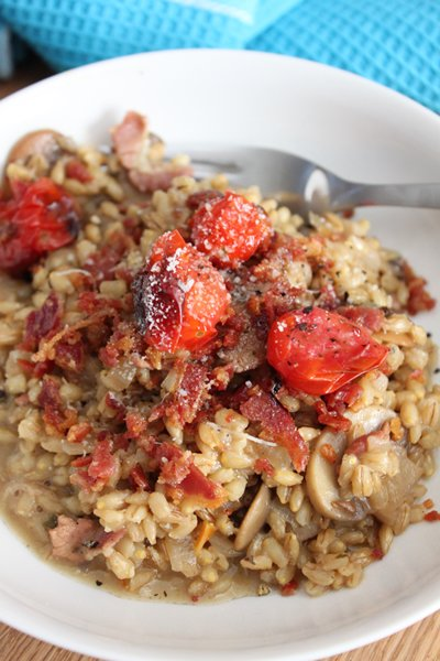 Carey Boucher Erasmus's Barley Risotto with mushrooms, bacon crumbs & roasted tomatoes