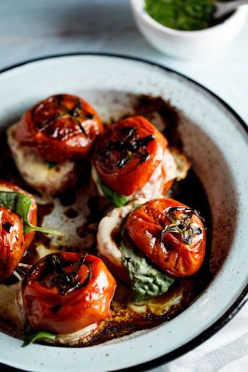 Alida Ryder's Roasted Caprese Tomatoes with Basil dressing