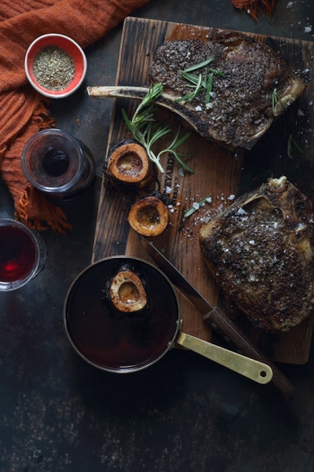 Tracy Foulkes's Roast Rib Eye & Bone Marrow with Red Wine Sauce