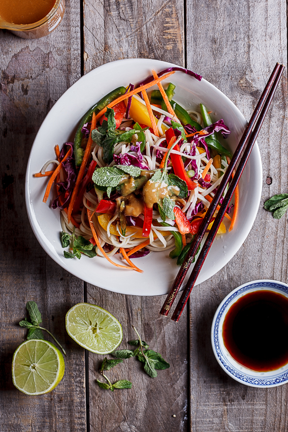 Alida Ryders Rainbow Asian noodle salad with peanut ginger dressing