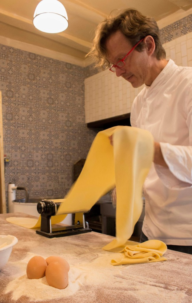 Christiaan Campbell busy making pasta