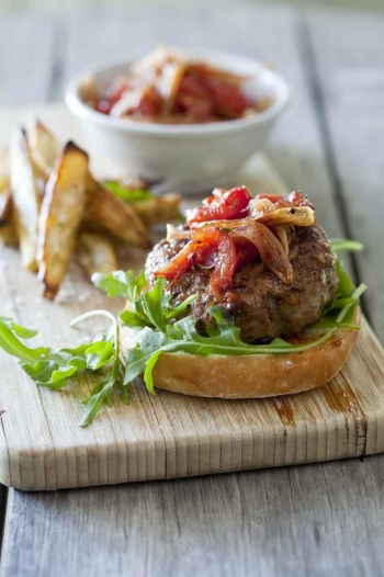 Beef Burger with Tangy Tomato Relish