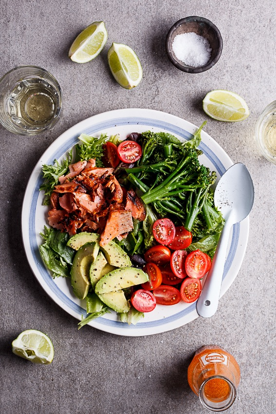 Alida Ryders Grilled trout salad with Sriracha lime dressing