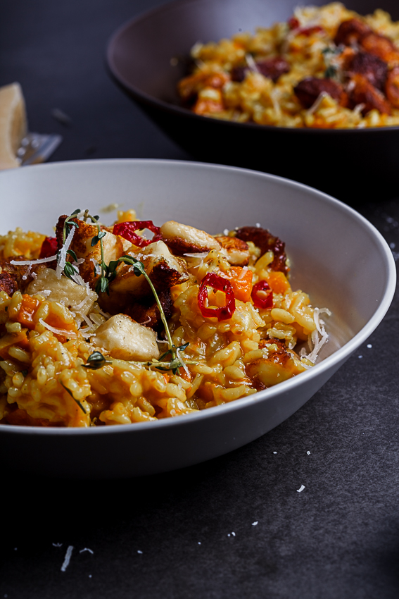 Alida Ryders Roasted pumpkin risotto with Haloumi pops & chilli syrup