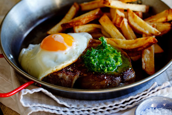 Alida Ryders Steak & Eggs with Herbed Chilli Butter & Chips